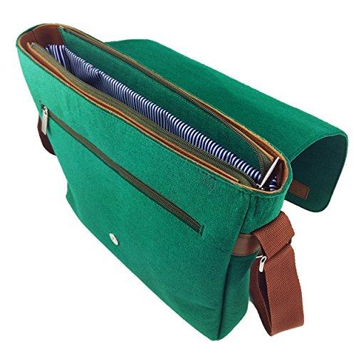 cb8663e80ffe3 ... Venetto Herrentasche Messenger Bag Schultertasche Umhängetasche  Handtasche Herren Filztasche Tasche aus Filz mit Echtleder-Applikationen ...