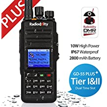 Radioddity * GD-55 Plus * 10W UHF DMR Digital Two Way Radio Transceptor IP67 waterproof, Dual Time Slot, with Programming Cable and 2 Antennas, Compatible with Mototrbo TierⅠ&Ⅱ