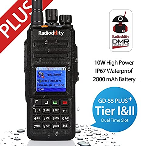 Radioddity * GD-55 Plus * 10W UHF DMR Digital Two Way Radio Émetteur récepteur IP67 waterproof, Dual Time Slot, with Programming Cable and 2 Antennas, Compatible with Mototrbo TierⅠ&Ⅱ