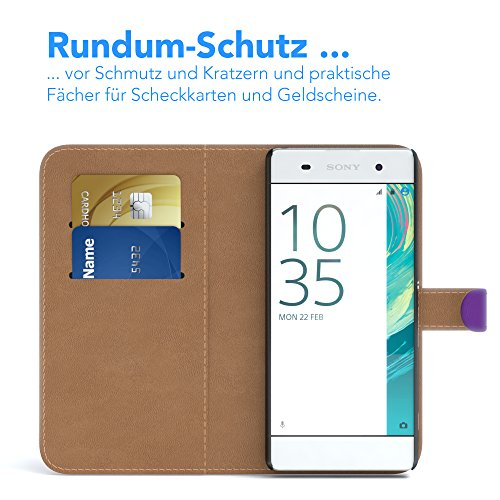 Sony Xperia XA Hülle - EAZY CASE Premium Flip Case Handyhülle - Schutzhülle aus Leder in Lila Lila (Book)
