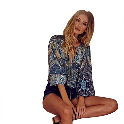 Women Blouse, SHOBDW Fashion Womens Summer Boho Long Sleeve Casual Blouse Loose Tops T Shirt (M, Blue)