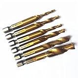 Smart Fun Profi 6-teilig Kombi Gewindebohrer Bit Satz 1/4'' HSS M3-M10 Schraube Sechskantschaft Senker Werkzeuge Bohrer Bits Set Handgewindebohrer Drill Bits für Edelstahl Metal