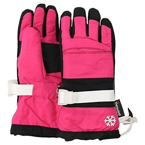 Grand Sierra Girl's Waterproof Snowflake Winter Gloves (Pink/Black