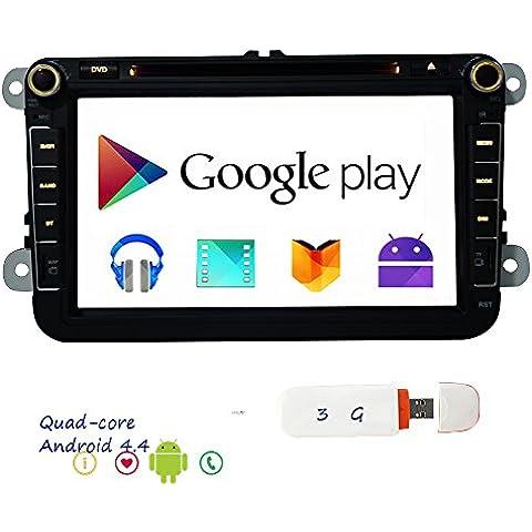 Libero 3G Dongle CANBUS Dash 2 DIN Android 4.4 OS VW RNS510 8inch 1024 * 600 HD dello schermo stereo quad-core CPU 1.6GHZ GPS di lettore DVD 16G radio navigazione ricevitore Bluetooth Wifi 3G DVR per VW GOLF POLO JETTA TOURAN EOS PASSAT CC TIGUAN - Quad Capo