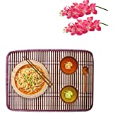 Bamboo Table Mats/Place Mats/Dinning Mats/Kitchen Place Mats/Dinner Mats, 30x40cm, 6 Piece Set-(Red Stripes)