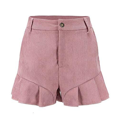 Frauen beiläufige Feste Rüsche-Hosen-Damen-mittlere elastische Taillen-lose gerade Kurzschlüsse mit Taschen for koreanischen Art-Sommer Shorts Frauen (Color : Pink, Size : S) - Tasche Koreanischen