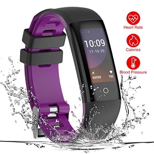 TEZER Fitness Tracker,Fitness Armbänder SmartWatch mit Sportmodus/Blutdruck/Herzfrequenz/Schlaf Schrittzähler/Blutsauerstoffmonitor/Smart Armband Armband Lesen Sie für Bluetooth Android/iOS (Lila)