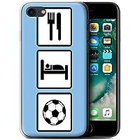 Custodia/Cover/Caso/Cassa Gel/TPU/Prottetiva STUFF4 stampata con il disegno Mangiare/Sonno per Apple iPhone 7 - Calcio/Blu