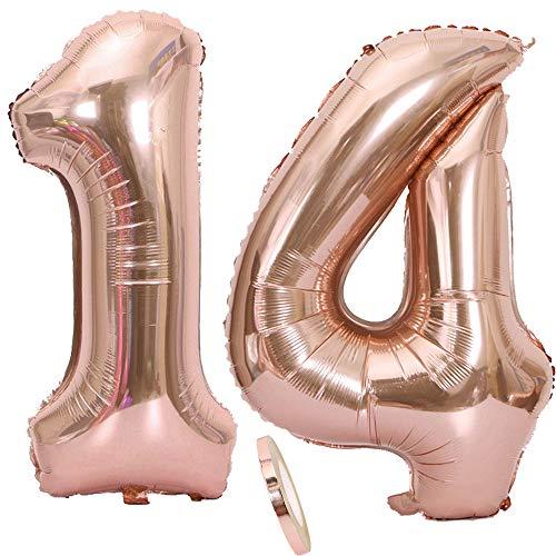 2 Luftballons Zahl 14, Nummer 14 Luftballon Rosegold Mädchen ,40