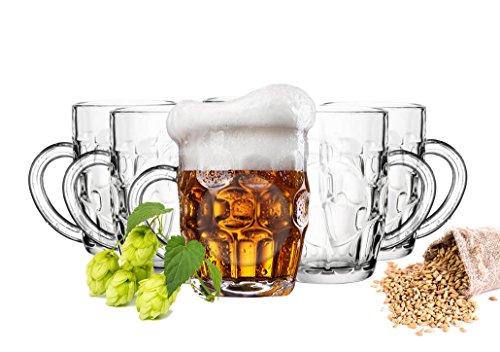 6 x Biergläser mit Henkel 500ml Bierseidel Bierkrüge Bierglas Bierkrug Glas