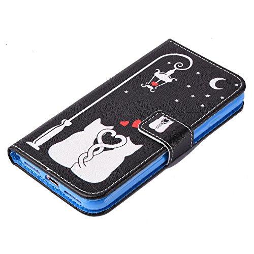 Etsue Handytasche für iPhone 7 Plus (5.5 Zoll) 2016 schwarz, Brieftasche Hülle für iPhone 7 Plus (5.5 Zoll) 2016 [Sonnenblume] Muster Lederhülle Handyhülle Einzigartig Flip Hülle Leder Schutzhülle Vin Niedlich Weiß Katze