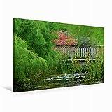 Premium Textil-Leinwand 75 cm x 50 cm quer, Teichbrücke | Wandbild, Bild auf Keilrahmen, Fertigbild auf echter Leinwand, Leinwanddruck (CALVENDO Natur)