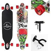 """(Certificación GS)Yorbay 41""""pulgadas tabla monopatín skateboard completo hecho con 9 capas de madera de arce canadiense Con T-herramienta y un soporte colgante de paredhasta 180kg (modelo 9/ ruedas rojo led)"""