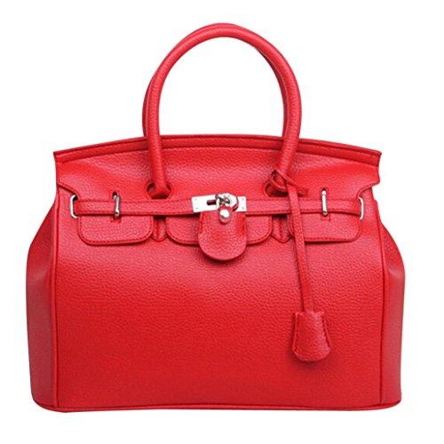 Damen Handtasche Schwarz groß Leder , Manadlian Frauen Einfach Größer Kapazität Leder Frau Schultertasche Handtasche Rot