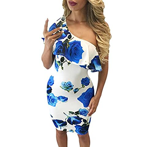 Women Dresses, Manadlian 2017 New Women Sexy Summer Casual One Shoulder Floral Print Party Cocktail Ruffles Bodycon Beach Short Dress (L, Blue)