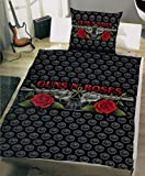Brandsseller Bettwäsche Guns N` Roses - Renforce - Bettbezug: 140cm x 200cm - Kissenbezug: 70cm x 90cm - Schwarz
