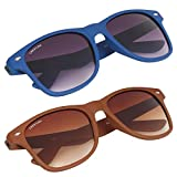 Creature Blue & Brown Matte Finish Wayfarer UV Protected Unisex Sunglasses Combo(Lens-Purple/Brown||Frame-Blue/Brown||Sun-015-016)