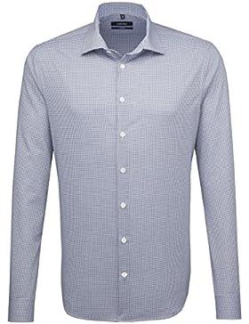 SEIDENSTICKER Herren Hemd Tailored 1/1-Arm Bügelfrei Karo City-Hemd Kent-Kragen Kombimanschette weitenverstellbar