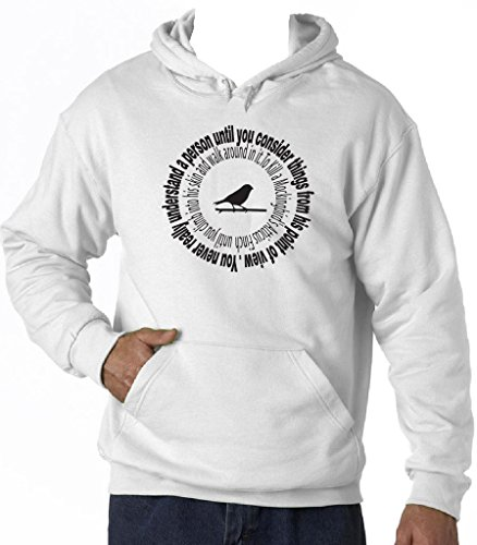 teesquare1st Men's Atticus Really Understand White Hoodie T-Shirt Size XLarge