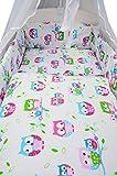 Best For Kids LUX Komplettset Babybett 60x120 cm mit Bettwäsche inkl. Decke und Kissen - 6 Design (Eulen weiß-rosa)