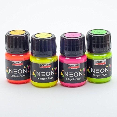 Acrylfarbe neon in Set 4x30ml Neonfarbe, Leuchtfarbe, Bastelfarbe, Acrylfarbe (Neon Ton)