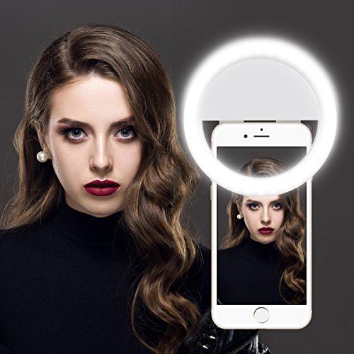 Selfie Ring Licht, Gvoo 36 LED 3W 5600K USB Strahler Flash Kamera Foto Video Licht Light Lampe mit 3 Lichtstufen für alle Handys - Weiß