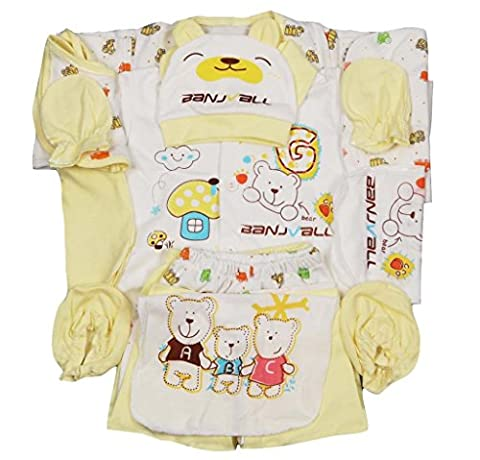Jinyouju Infant Bodysuit 18pcs Cotton Essential Clothing Set Newborn Caring Layette Gift Sets 0-6 Months