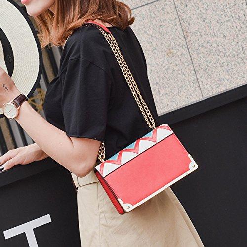 kleine quadratische tasche schlagfarbe Schulterbeutel diagonale paketart und weisehandtaschen Rot