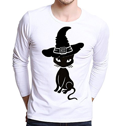 UJUNAOR Männer Plus Size Gedruckt Tees Shirt Langarm Frauen-Halloween Kürbis T Shirt Bluse XS Bis 4XL(Schwarz,CN L)