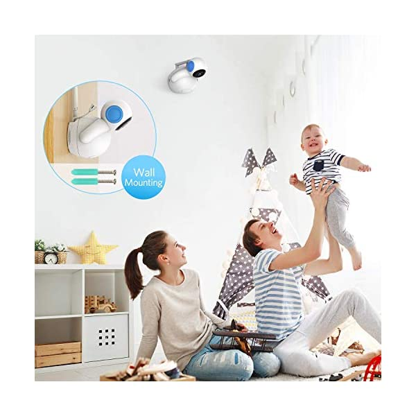 """HOMIEE 720P Wireless Video Baby Monitor with 5"""" HD LCD Digital Screen & Robot Appearance Camera, Two Way Audio, Sound & Temperature Alert, Low Battery Alarm, Night Vision with 1000ft Range (Blue) HOMIEE 【5"""" Large Rechargeable Color LCD Monitor】Equipped with super large 5 inch full color HD LCD screen with 1280 x 720 resolution, HOMIEE baby monitor offers the most vivid visual experience 【Upgraded Unique Robot Appearance Camera】Up to 4 cameras can be hooked up to the monitor for more babies. The robot can be wireless controlled to rotate about 360 degree horizontally, to bow and lie down between 105 degree at most. Additional camera can be purchased at ASIN: B07KGP29GM 【2.4GHz Wireless Connection Technology】No need to connect WIFI, needless of 3G/4G mobile data traffic, the 2.4GHz wireless technology provides 100% digital privacy and security, with range up to 1000ft in open space. Night vision is also supported 7"""
