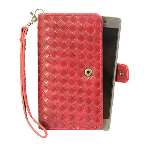 J Cover A9 L Elegant Series Leather Carry Case Cover Pouch Wallet Case For Karbonn Platinum P9 Wine Red
