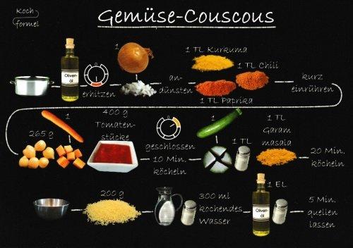 """Rezept-Postkarte""""Feierabend, vegetarisch: Gemüse-Couscous"""""""