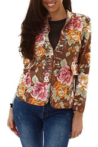 Voyelles Damen Blazer mit Stehkragen, Eine Kurze Jacke mit Blumen-Muster 32-38 Braun 38-40