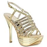 Stiefelparadies Damen Sandal Boots High Heels Schaftsandaletten Metallic Schuhe 33851 Gold Steinchen Plateau 39 Flandell