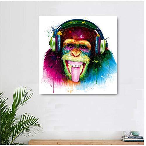no brand Animal Singe Gorille de pensée drôle Moderne imprimé sur Toile avec Casque Art Mural pour Salon Decor-50x50cm sans Cadre