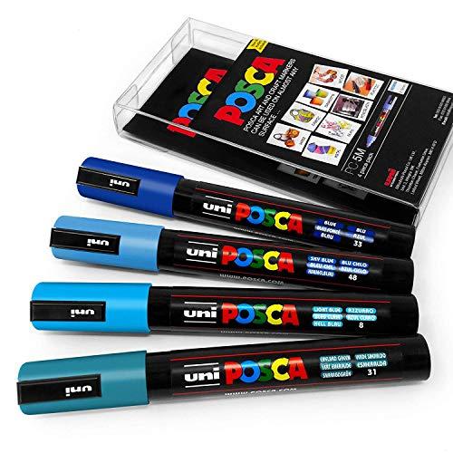 Uni Posca PC-5M Marcatori grafici a vernice, in custodia di plastica, toni freddi, confezione da 4