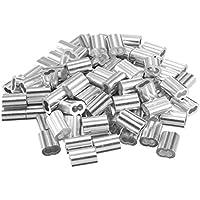 sourcing map 0,06 Pulg (1,5mm) de Diámetro Manguitos de Aluminio para Pasacables Funda Engarzado Tono de Plata 100pcs
