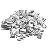sourcingmap® 0.06 in (1,5 mm) diametro fune manicotti in alluminio Clip cavo raccordi crimpature 100pz