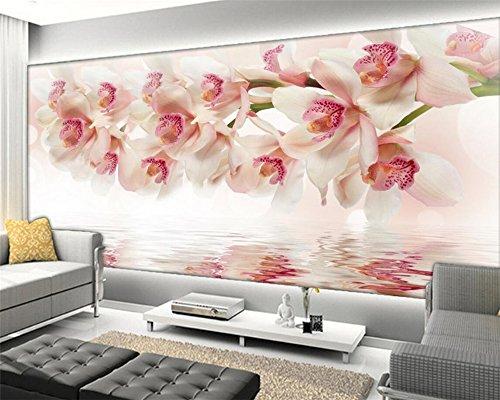 BZDHWWH Maison Moderne Personnalisé 3D Fresque Papier Peint Chambre Télévision Fond D'Écran Papier Peint Murale Rêve Fleur D'Orchidée 3D Fond D'Écran,170cm (H) x 255cm (W)