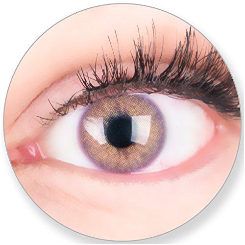 Glamlens Kontaktlinsen farbig violett Lila ohne Stärke - mit Kontaktlinsenbehälter. Sehr stark deckende natürliche Lavendellila/Glamlens Violett 1 Paa Monatslinsen weich Silikon Hydrogel