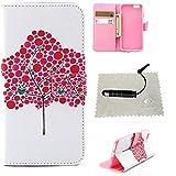 TOCASO Pink Leder Schutzhülle für iPhone 6S Plus Hülle [Rot Baum] Flip Wallet Case,Build-iHüllen Portable Handyhülle Soft Silikon Tasche r Schutzhüllen Reinigungstücher für iPhone 6 Plus / 6s Plus