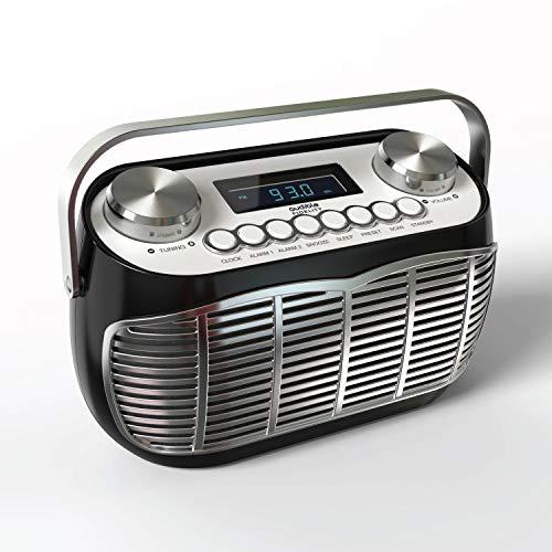 Detroit | Radio FM Vintage - Poste Radio Portable avec Reveil, Grand écran LCD, Prise Casque, Pile et Secteur - Noir