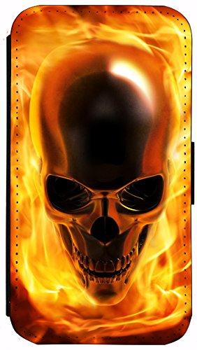 Case Schutz Hülle Flip Cover Handy Tasche Etui für (Apple iPhone 6 / 6s, 1068 Löwe Cartoon Braun Türkis) 1061 Totenkopf Skull Flammen Gelb Gold