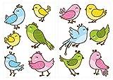 Wandtattoo Kinderzimmer Wandtattoo Set Niedliche Baby Vögel als farbige und sti