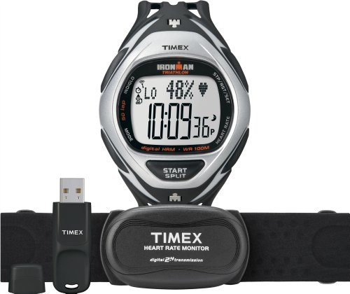 Timex Ironman Herzfreuquenzmesser - Reloj digital de caballero de cuarzo con correa de goma negra (cronómetro, alarma, cuenta vueltas, monitor de frecuencia cardiaca) - sumergible a 100 metros