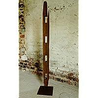 Eiche Massivholz Kerzenständer, Teelichthalter Treibholz-Applikation, Deko-Säule Eisenfuß 140 cm, Windlicht, Handmade in Germany