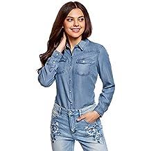 ed0910424 oodji Ultra Mujer Camisa con Botones a Presión con Bolsillos en el Pecho