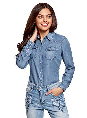 Oodji ultra donna camicia a bottoni a pressione con taschini, blu, it 40 / eu 36 / xs