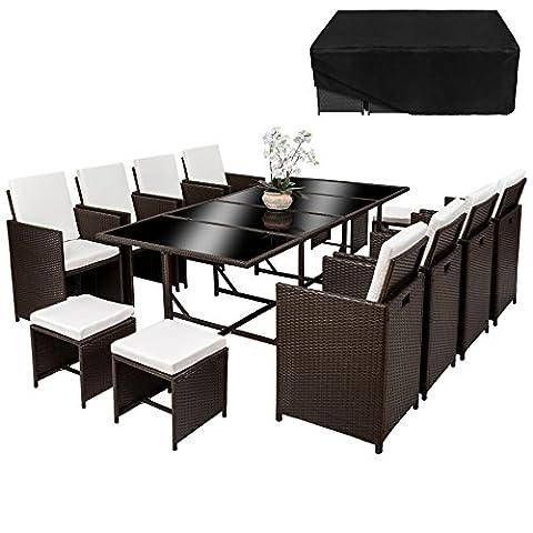 TecTake Poly Rattan 8+4+1 Sitzgruppe | 8 Stühle 4 Hocker 1 Tisch | inkl. Schutzhülle & Edelstahlschrauben | - diverse Farben - (Braun Antik | Nr. 402102)