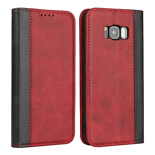 FAWUMAN Hülle Flip Case für Samsung Galaxy S8,Magnetische Klapphülle Handyhülle mit Standfunktion Ledertasche TPU Bumper Wallet Case für Samsung Galaxy S8